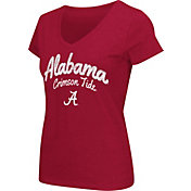 Colosseum Athletics Women's Alabama Crimson Tide Crimson Script Graphic V-Neck T-Shirt