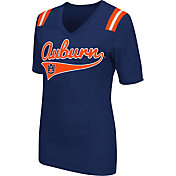 Colosseum Athletics Women's Auburn Tigers Blue Artistic V-Neck T-Shirt