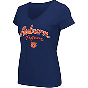 Colosseum Athletics Women's Auburn Tigers Blue Script Graphic V-Neck T-Shirt