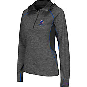 Colosseum Women's Boise State Broncos Grey Downhill Quarter-Zip Hooded Wind Shirt