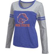 Colosseum Athletics Women's Boise State Broncos Blue Leap Scoop Neck Long Sleeve Shirt
