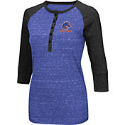 Colosseum Women's Boise State Broncos Blue Three-Quarter Sleeve Henley Shirt