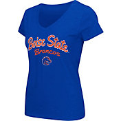 Colosseum Athletics Women's Boise State Broncos Blue Script Graphic V-Neck T-Shirt