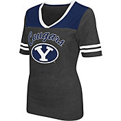 Colosseum Athletics Women's Brigham Young Cougars Grey Twist V-Neck T-Shirt