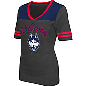 Colosseum Athletics Women's UConn Huskies Grey Twist V-Neck T-Shirt
