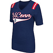 Colosseum Athletics Women's UConn Huskies Blue Artistic V-Neck T-Shirt