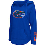 Colosseum Athletics Women's Florida Gators Blue Walkover V-Neck Hooded Pullover