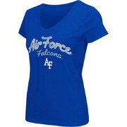 Colosseum Athletics Women's Air Force Falcons Blue Script Graphic V-Neck T-Shirt