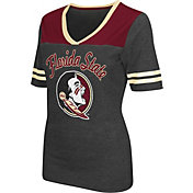 Colosseum Athletics Women's Florida State Seminoles Grey Twist V-Neck T-Shirt
