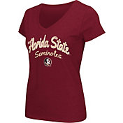 Colosseum Athletics Women's Florida State Seminoles Garnet Script Graphic V-Neck T-Shirt