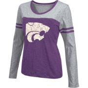 Colosseum Athletics Women's Kansas State Wildcats Purple Leap Scoop Neck Long Sleeve Shirt