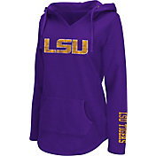 Colosseum Athletics Women's LSU Tigers Purple Walkover V-Neck Hooded Pullover