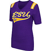 Colosseum Athletics Women's LSU Tigers Purple Artistic V-Neck T-Shirt