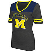 Colosseum Athletics Women's Michigan Wolverines Grey Twist V-Neck T-Shirt