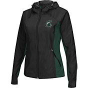 Colosseum Athletics Women's Michigan State Spartans Black/Green Step Out Windbreaker