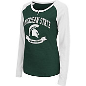 Colosseum Athletics Women's Michigan State Spartans Green Healy Long Sleeve Shirt