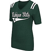 Colosseum Athletics Women's Michigan State Spartans Green Artistic V-Neck T-Shirt