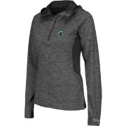 Colosseum Women's Michigan State Spartans Grey Downhill Quarter-Zip Hooded Wind Shirt