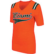 Colosseum Athletics Women's Miami Hurricanes Orange Artistic V-Neck T-Shirt
