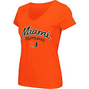 Colosseum Athletics Women's Miami Hurricanes Orange Script Graphic V-Neck T-Shirt