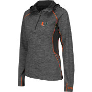 Colosseum Women's Miami Hurricanes Grey Downhill Quarter-Zip Hooded Wind Shirt