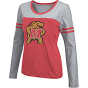 Colosseum Athletics Women's Maryland Terrapins Red Leap Scoop Neck Long Sleeve Shirt