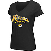 Colosseum Athletics Women's Missouri Tigers Script Graphic V-Neck Black T-Shirt