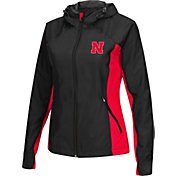 Colosseum Athletics Women's Nebraska Cornhuskers Black/Scarlet Step Out Windbreaker