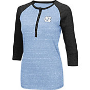 Colosseum Women's UNC Tar Heels Carolina Blue Three-Quarter Sleeve Henley Shirt