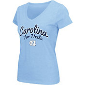 Colosseum Athletics Women's UNC Tar Heels Navy Script Graphic V-Neck T-Shirt