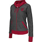 Colosseum Athletics Women's Indiana Hoosiers Charcoal Velocity Cowl Neck Full Zip Performance Jacket