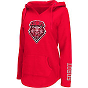 Colosseum Athletics Women's New Mexico Lobos Cherry Walkover V-Neck Hooded Pullover