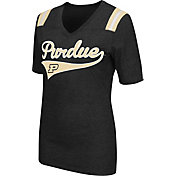 Colosseum Athletics Women's Purdue Boilermakers Artistic V-Neck Black T-Shirt