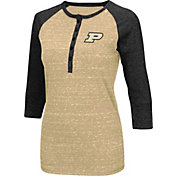 Colosseum Women's Purdue Boilermakers Old Gold Three-Quarter Sleeve Henley Shirt