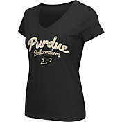Colosseum Athletics Women's Purdue Boilermakers Script Graphic V-Neck Black T-Shirt