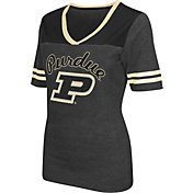 Colosseum Athletics Women's Purdue Boilermakers Grey Twist V-Neck T-Shirt
