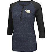 Colosseum Women's Pittsburgh Panthers Blue Three-Quarter Sleeve Henley Shirt