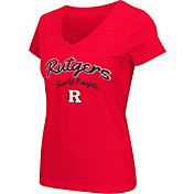 Colosseum Athletics Women's Rutgers Scarlet Knights Scarlet Script Graphic V-Neck T-Shirt