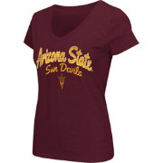 Colosseum Athletics Women's Arizona State Sun Devils Maroon Script Graphic V-Neck T-Shirt