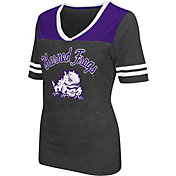 Colosseum Athletics Women's TCU Horned Frogs Grey Twist V-Neck T-Shirt