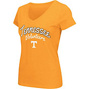 Colosseum Athletics Women's Tennessee Volunteers Tennessee Orange Script Graphic V-Neck T-Shirt