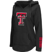 Colosseum Athletics Women's Texas Tech Red Raiders Walkover Black V-Neck Hooded Pullover