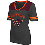 Colosseum Athletics Women's Virginia Tech Hokies Grey Twist V-Neck T-Shirt