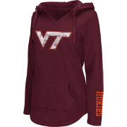 Colosseum Athletics Women's Virginia Tech Hokies Maroon Walkover V-Neck Hooded Pullover