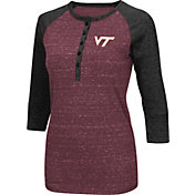 Colosseum Women's Virginia Tech Hokies Maroon Three-Quarter Sleeve Henley Shirt
