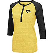 Colosseum Women's Iowa Hawkeyes Gold Three-Quarter Sleeve Henley Shirt