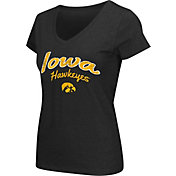 Colosseum Athletics Women's Iowa Hawkeyes Script Graphic V-Neck Black T-Shirt