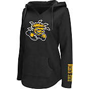 Colosseum Athletics Women's Wichita State Shockers Walkover V-Neck Hooded Black Pullover