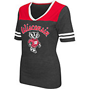 Colosseum Athletics Women's Wisconsin Badgers Grey Twist V-Neck T-Shirt