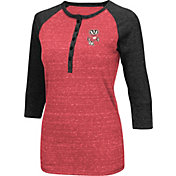 Colosseum Women's Wisconsin Badgers Red Three-Quarter Sleeve Henley Shirt